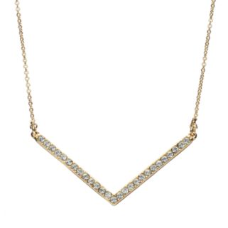 Crystal Collection Crystal 14k Gold-Plated Chevron Necklace