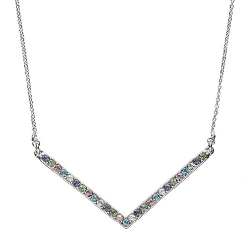 Crystal Collection Crystal Silver-Plated Chevron Necklace