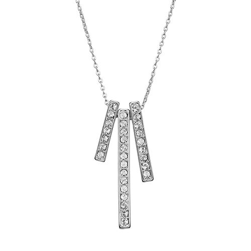 Crystal Collection Crystal Silver-Plated Stick Pendant Necklace