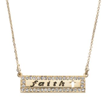 "Crystal Collection Crystal 14k Gold-Plated ""Faith"" Cross Bar Necklace"