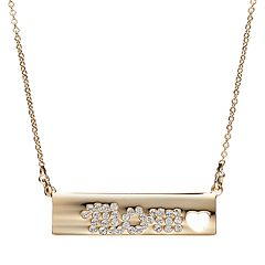 Crystal Collection Crystal 14k Gold-Plated 'Mom' Bar Necklace