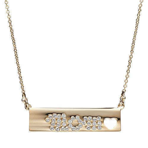 """Crystal Collection Crystal 14k Gold-Plated """"Mom"""" Bar Necklace"""