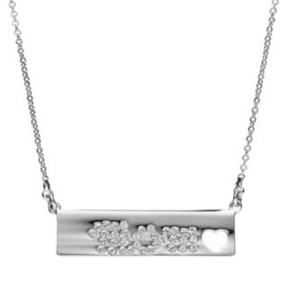 """Crystal Collection Crystal Silver-Plated """"Mom"""" Heart Bar Necklace"""