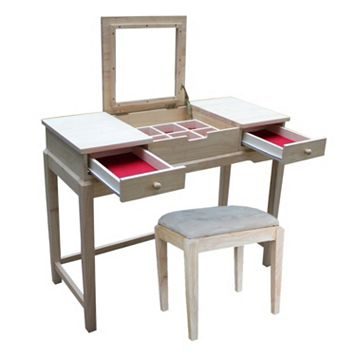 International Concepts 2-piece Vanity Table & Bench Set