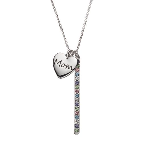 "Crystal Collection Crystal Silver-Plated ""Mom"" Heart Charm & Stick Pendant Necklace"