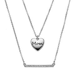 Crystal Collection Crystal Silver-Plated 'Mom' Heart Pendant and Bar Necklace Set