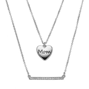 """Crystal Collection Crystal Silver-Plated """"Mom"""" Heart Pendant and Bar Necklace Set"""