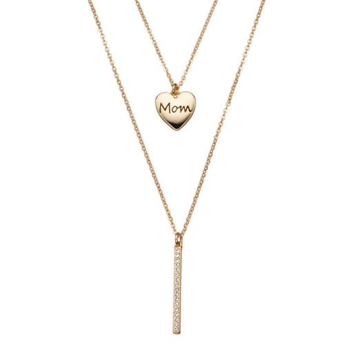 """Crystal Collection Crystal 14k Gold-Plated """"Mom"""" Heart & Stick Pendant Necklace Set"""
