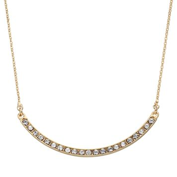 Crystal Collection Crystal 14k Gold-Plated Curved Bar Necklace