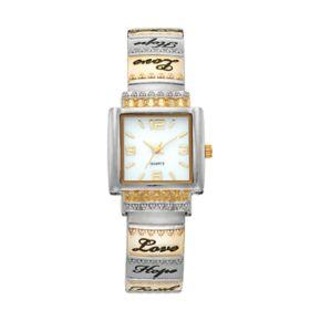 Vivani Women's Two Tone Inspirational Engraved Cuff Watch