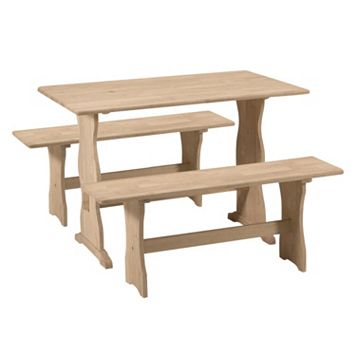 International Concepts 3-piece Trestle Table & Bench Set
