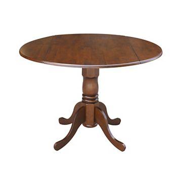 International Concepts Round Dual Drop Leaf Pedestal Table