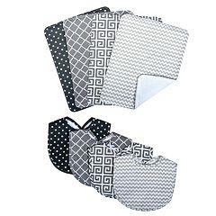 Trend Lab 8 pc Printed Bib & Burp Cloth Set