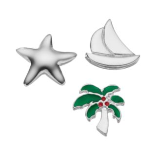 Blue La Rue Silver-Plated Starfish, Sailboat & Palm Tree Charm Set