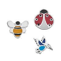 Blue La Rue Silver-Plated Hummingbird, Ladybug & Bee Charm Set
