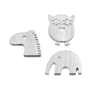 Blue La Rue Silver-Plated Owl, Elephant & Horse Charm Set
