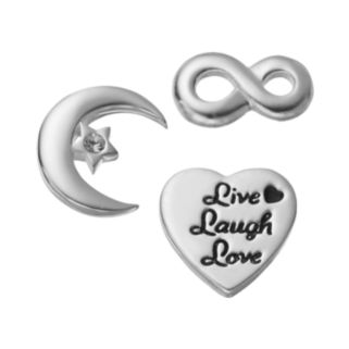"""Blue La Rue Crystal Silver-Plated Moon, Infinity & """"Live Laugh Love"""" Heart Charm Set"""