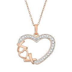 18k Rose Gold Over Silver 'XO' Heart Pendant Necklace