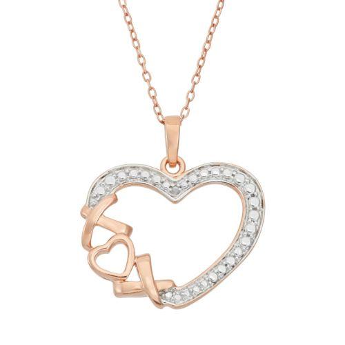 "18k Rose Gold Over Silver ""XO"" Heart Pendant Necklace"