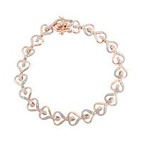 18k Rose Gold Over Silver Heart Bracelet