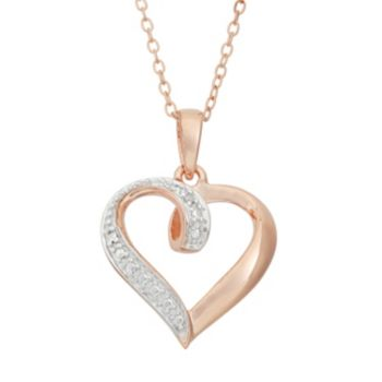 18k Rose Gold Over Silver Heart Pendant Necklace