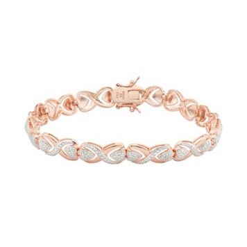 18k Rose Gold Over Silver Heart Bracelet