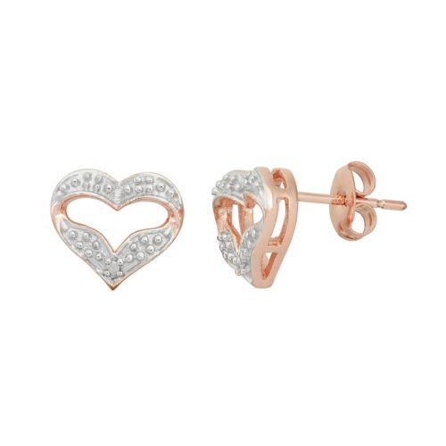 18k Rose Gold Over Silver Heart Stud Earrings