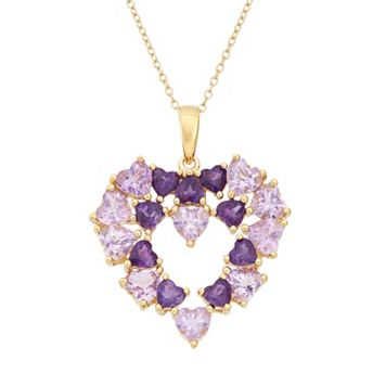 Amethyst 18k Gold Over Silver Heart Pendant Necklace