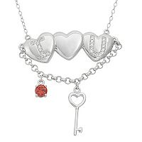 Cubic Zirconia Sterling Silver Heart & Key Necklace