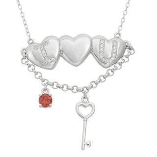 Cubic Zirconia Sterling Silver Heart and Key Necklace
