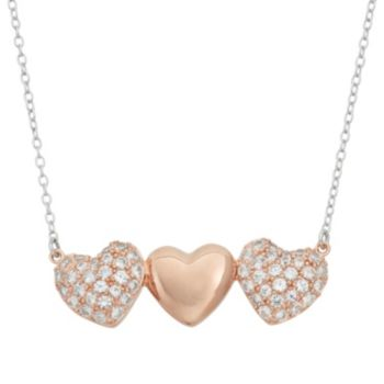 Lab-Created White Sapphire 18k Rose Gold Over Silver Triple Heart Necklace
