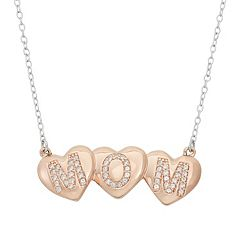 Lab-Created White Sapphire 18k Rose Gold Over Silver 'Mom' Triple Heart Necklace
