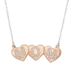 "Lab-Created White Sapphire 18k Rose Gold Over Silver ""Mom"" Triple Heart Necklace"