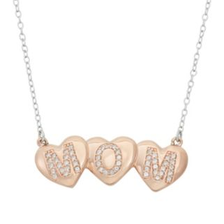 """Lab-Created White Sapphire 18k Rose Gold Over Silver """"Mom"""" Triple Heart Necklace"""