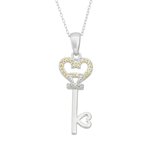 Cubic Zirconia Sterling Silver Heart Key Pendant Necklace