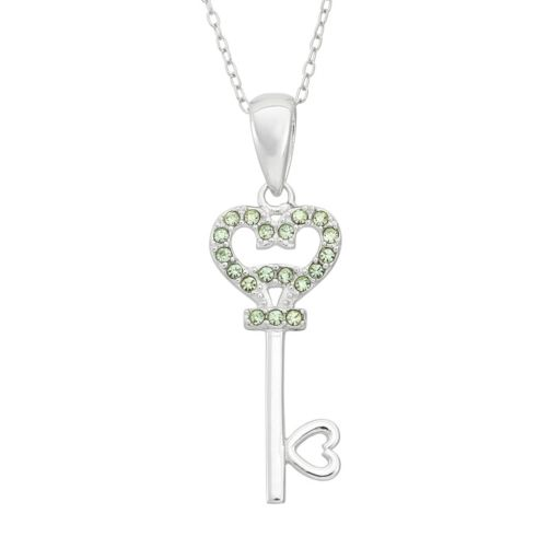 Crystal Sterling Silver Heart Key Pendant Necklace