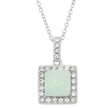 Lab-Created Opal & Crystal Sterling Silver Square Halo Pendant Necklace