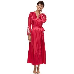 Women's Flora by Flora Nikrooz Lace-Trim Charmeuse Long Robe