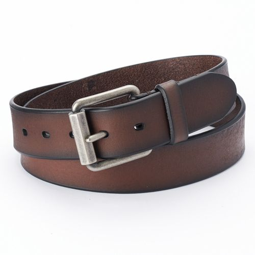 Levi's  Beveled Roller-Buckle Brown Leather Belt - Men
