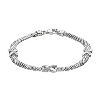 Crystal Sterling Silver Mesh X Bracelet