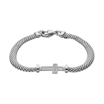 Crystal Sterling Silver Mesh Cross Bracelet