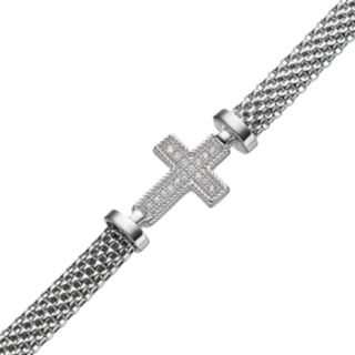 Crystal Sterling Silver Mesh Cross Bracelet