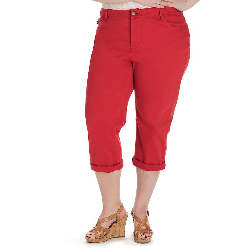 Lee Frenchie Easy Fit Jean Capris - Women's Plus Size, (Red)