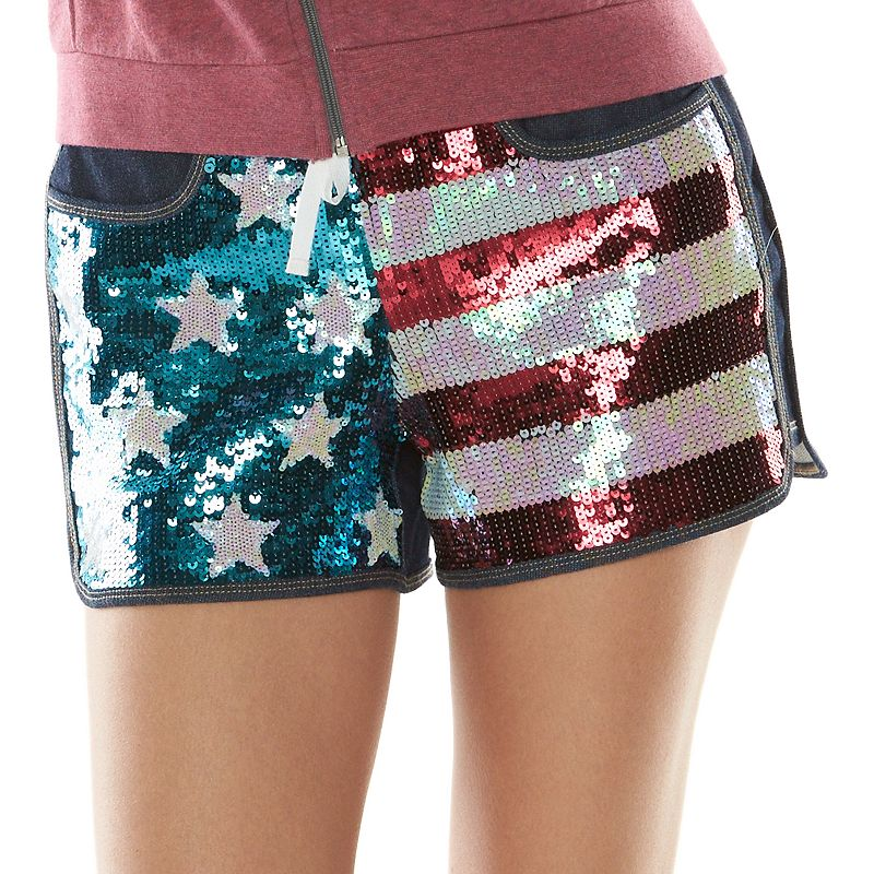 Juicy Couture American Flag Sequin Knit Jean Shorts - Women's