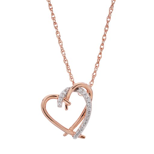 14k Rose Gold Over Silver 1/10 Carat T.W. Diamond Heart Pendant