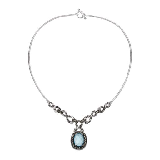 Le Vieux Glass & Marcasite Silver-Plated Halo Necklace
