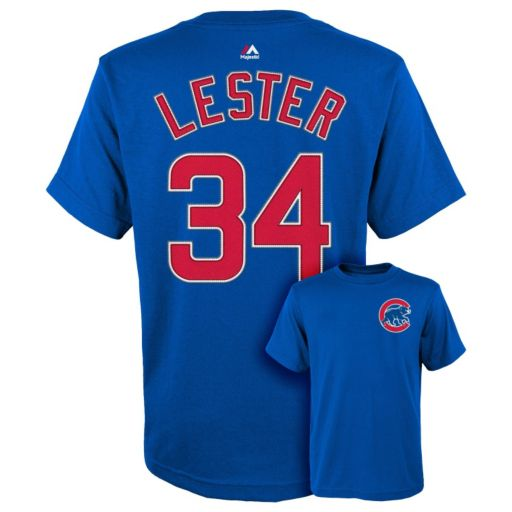 Boys 8-20 Majestic Chicago Cubs Jon Lester Player Name and Number Tee