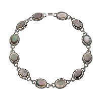 Le VieuxAbalone & Marcasite Silver-Plated Halo Necklace