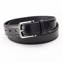 Dockers® Drop-Edge Stitched Black Leather Belt - Men