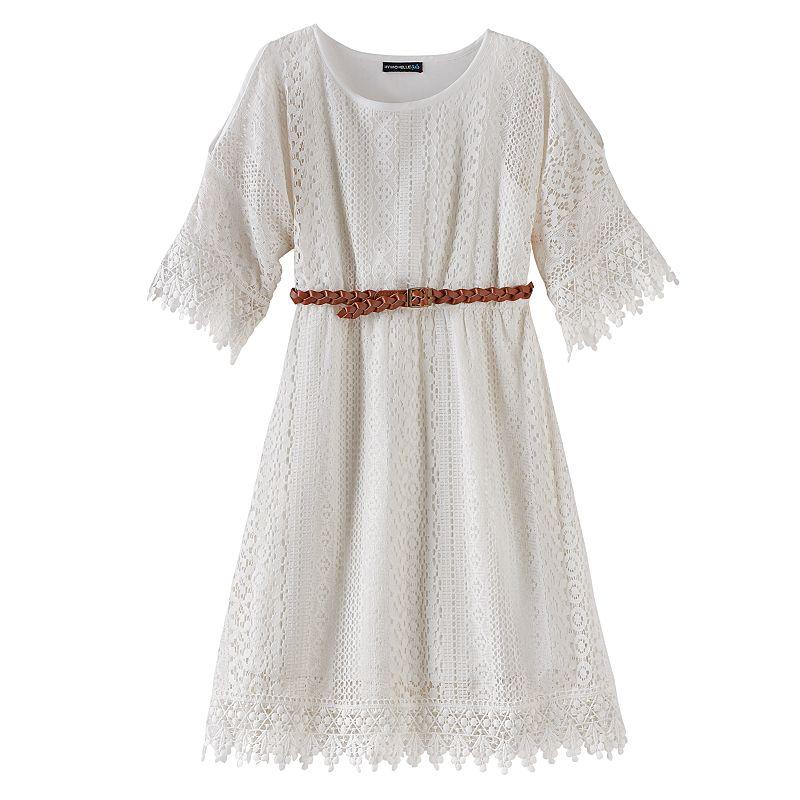 My Michelle Crochet Cold-Shoulder Dress - Girls 7-16